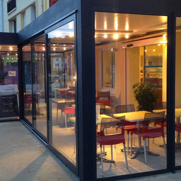 pergola bioclimatique, restaurant nuit