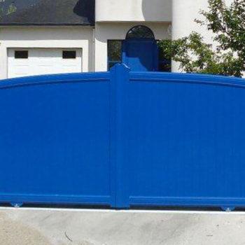 portail aluminium contemporain bleu pétrole