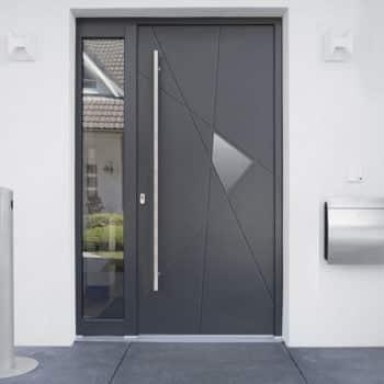 porte d'entrée aluminium gris avec détails et vitre sur le côté