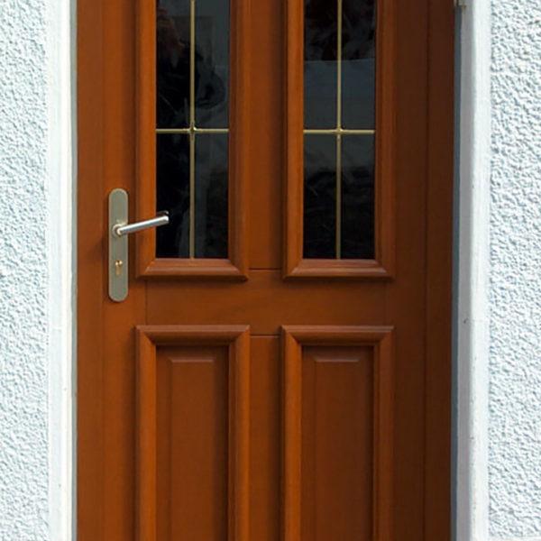 porte d'entrée bois merisier et double vitres