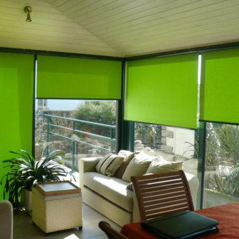 stores intérieurs verts