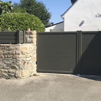 portail aluminium privilège vert kaki (et clôture)