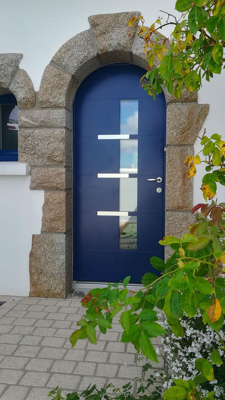 porte d'entrée aluminium bleue Euradif Pastel 4