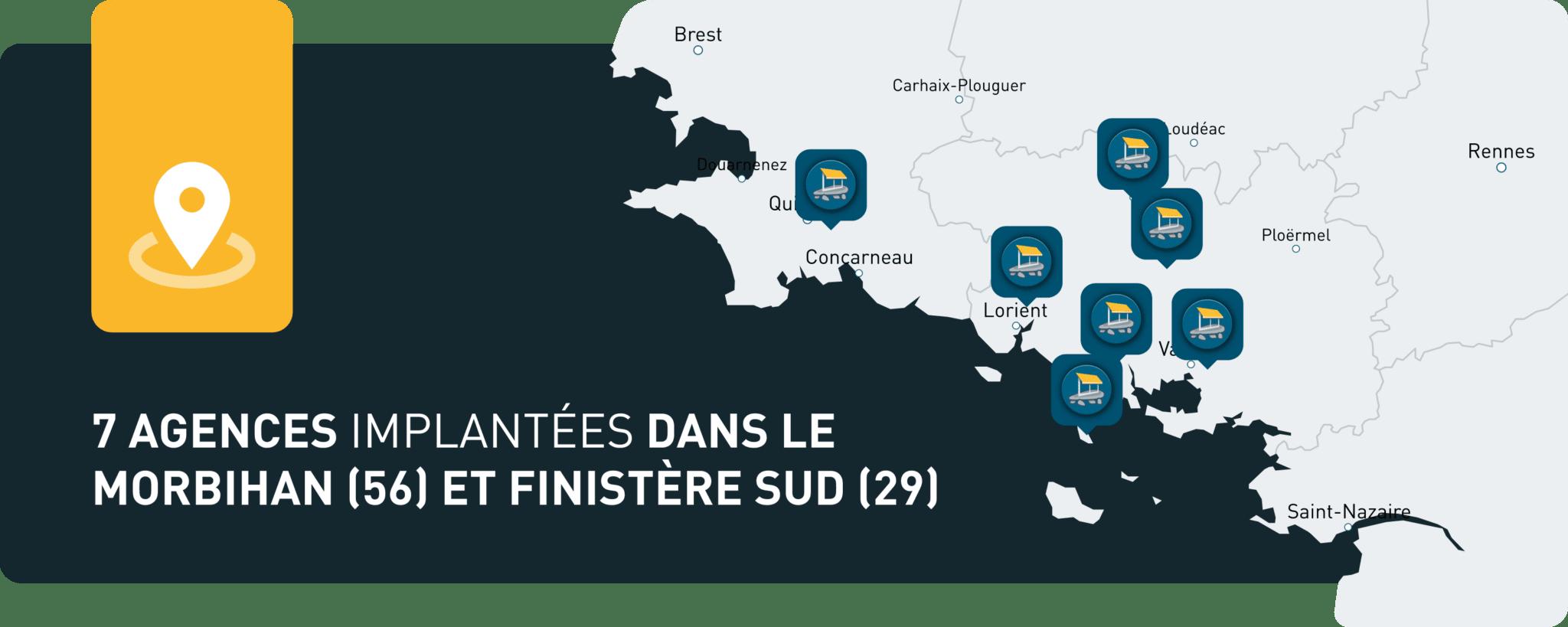 Map des 7 agences Pro-Fermetures